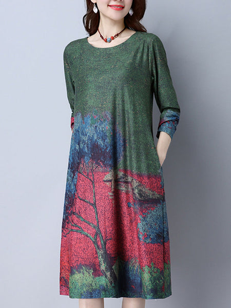 Loose Casual Round Neck Pocket Printed Maxi Dress - Bychicstyle.com