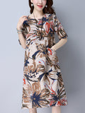 ByChicStyle Patch Pocket Round Neck Abstract Print Shift Dress - Bychicstyle.com