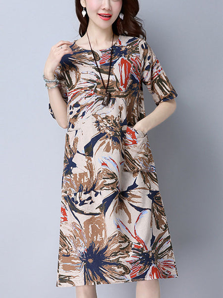 Patch Pocket Round Neck Abstract Print Shift Dress - Bychicstyle.com