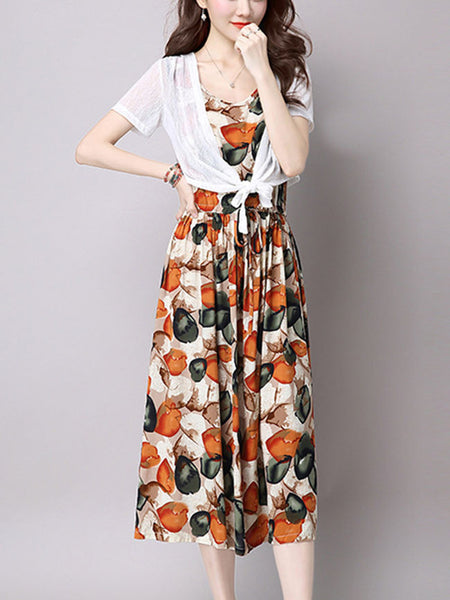 Casual Elastic Waist Printed Two-Piece Maxi Dress