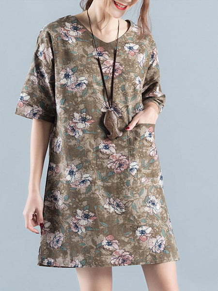 Casual V-Neck Shift Dress With Patch Pocket In Floral Printed