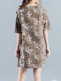 ByChicStyle Casual V-Neck Shift Dress With Patch Pocket In Floral Printed