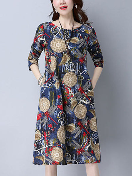 Round Neck Pocket Printed Shift Dress With Long Sleeve - Bychicstyle.com