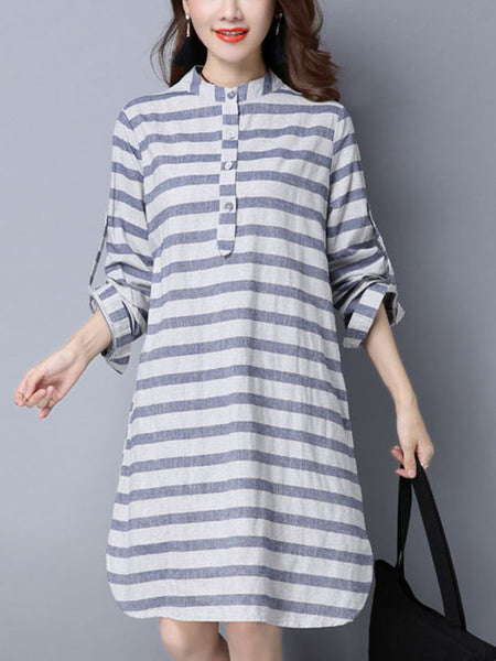 Casual Basic Band Collar Slit Pocket Striped Cotton/Linen Shift Dress