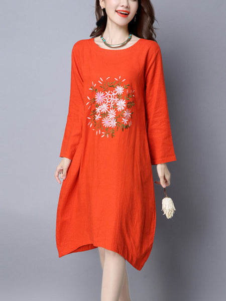 Casual Round Neck Embroidery Fabulous Shift Dress