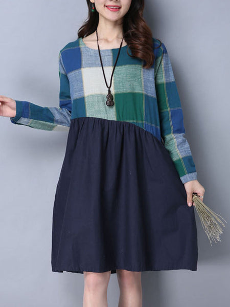 Round Neck Pocket Plaid Shift Dress - Bychicstyle.com
