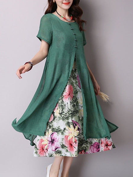 Round Neck Cutout Cascading Ruffles Floral Blend Maxi Dress - Bychicstyle.com