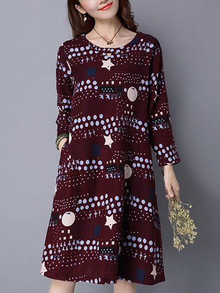 Round Neck Pocket Shift Dress In Polka Dot Star Printed - Bychicstyle.com