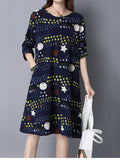 ByChicStyle Round Neck Pocket Shift Dress In Polka Dot Star Printed - Bychicstyle.com