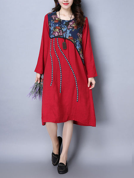 Round Neck Printed Exquisite Shift Dress - Bychicstyle.com