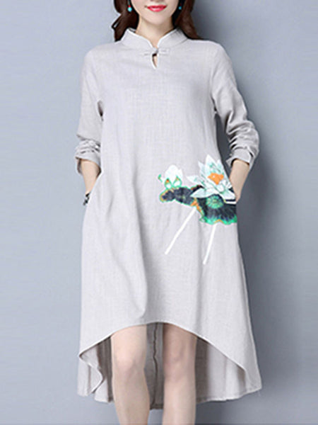 High-Low Band Collar Slit Pocket Printed Shift Dress - Bychicstyle.com