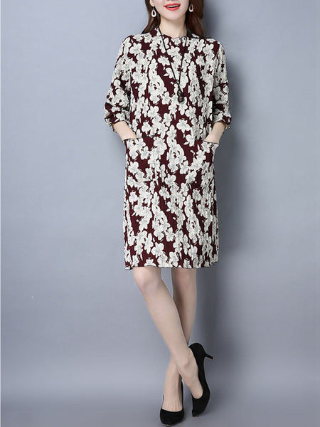 Patch Pocket Floral Printed Shift Dress - Bychicstyle.com
