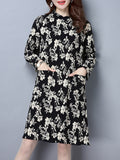 ByChicStyle Patch Pocket Floral Printed Shift Dress - Bychicstyle.com