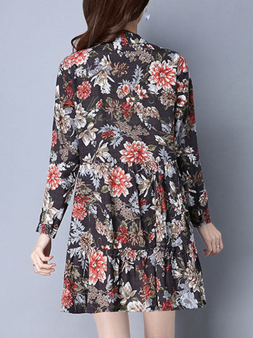 Casual Band Collar Floral Printed Sparkling Shift Dress