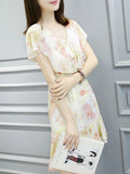 ByChicStyle Casual V-Neck Flounce Printed Chiffon Shift Dress