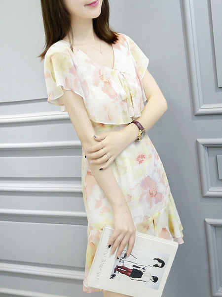Casual V-Neck Flounce Printed Chiffon Shift Dress
