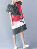 ByChicStyle Short Sleeve Round Neck Color Block Shift Dress - Bychicstyle.com