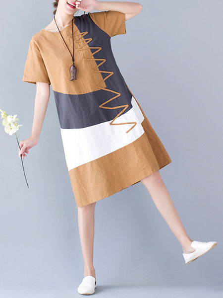 Short Sleeve Round Neck Color Block Shift Dress - Bychicstyle.com