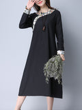ByChicStyle Round Neck Contrast Printed Trim Long Sleeve Maxi Dress - Bychicstyle.com