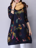 ByChicStyle Round Neck Pocket Quilted Colorful Printed Shift Dress - Bychicstyle.com