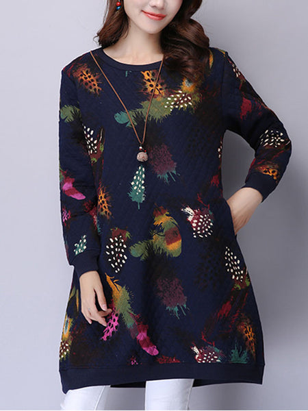 Round Neck Pocket Quilted Colorful Printed Shift Dress - Bychicstyle.com