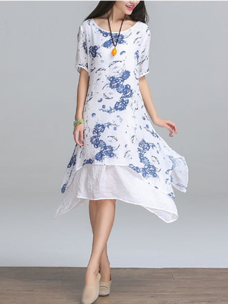 Casual Double Layer Round Neck Asymmetric Hem Printed Shift Dress