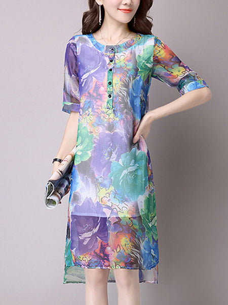 Round Neck Hollow Out Printed Chiffon Shift Dress - Bychicstyle.com