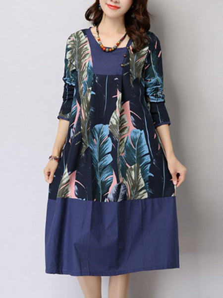 Slit Pocket Feather Printed Shift Dress - Bychicstyle.com