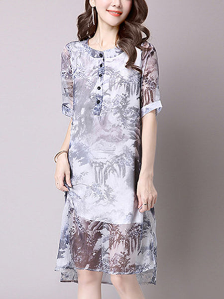 Round Neck High-Low Hollow Out Chiffon Shift Dress - Bychicstyle.com