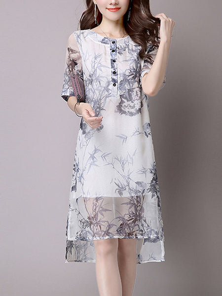 Round Neck Hollow Out Printed High-Low Chiffon Shift Dress - Bychicstyle.com