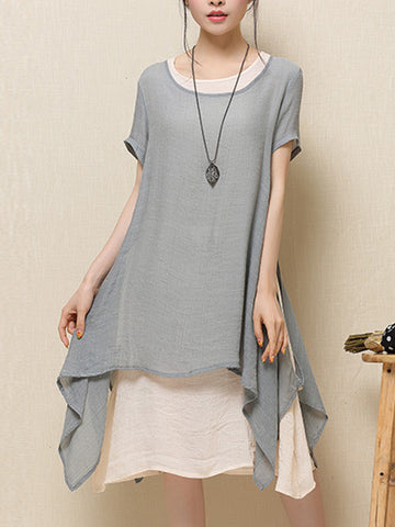 Streetstyle  Casual Round Neck Asymmetric Hem Plain Blend Shift Dress