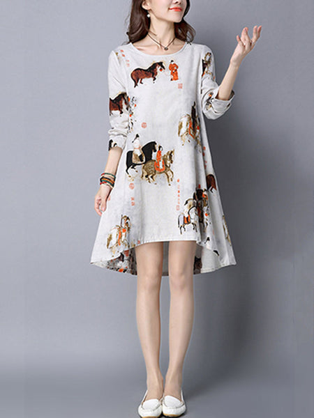 Round Neck Printed Shift Dress With Long Sleeve - Bychicstyle.com