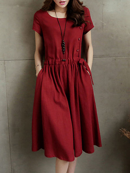 Casual Round Neck Drawstring Slit Pocket Plain Skater Dress