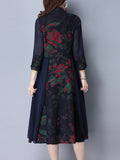 ByChicStyle Casual Band Collar Patchwork Ethnic Printed Maxi Dress