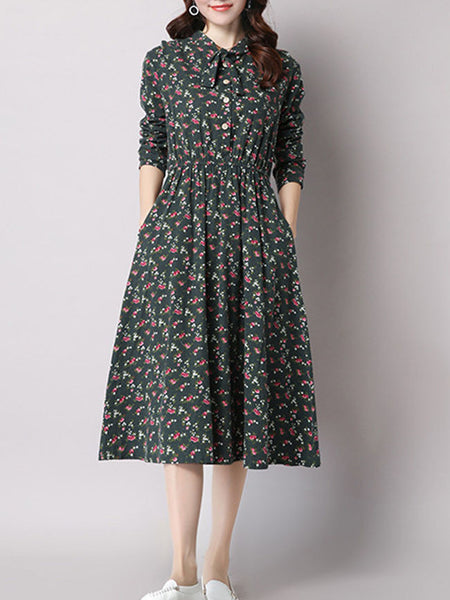 Bowknot Floral Cotton/Linen Skater Dress - Bychicstyle.com