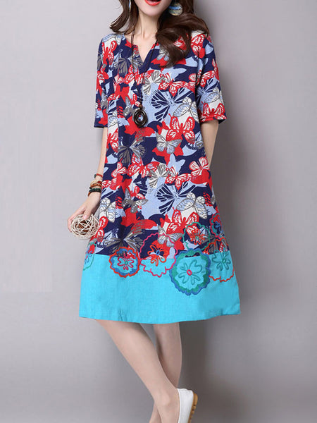Patchwork Embroidery Floral Cotton Shift Dress - Bychicstyle.com