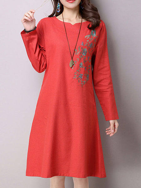 Casual Embroidery Floral Cotton/Linen Shift Dress