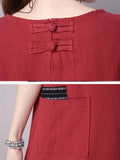 ByChicStyle Patch Pocket Embroidery Plain Cotton Shift Dress - Bychicstyle.com