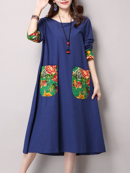 Patch Pocket Patchwork Floral Cotton Shift Dress - Bychicstyle.com