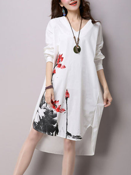 Casual V-Neck Abstract Print Cotton Shift Dress