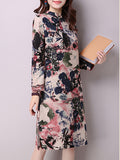 Streetstyle  Casual Band Collar Abstract Print Cotton Shift Dress