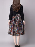 ByChicStyle Patchwork Long Sleeves Cotton Shift Dress - Bychicstyle.com