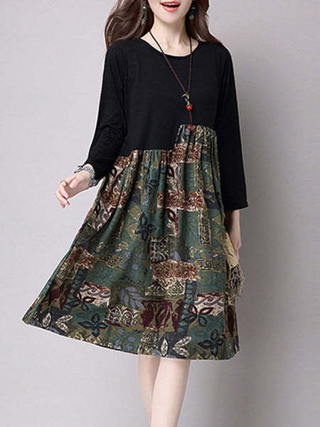 Patchwork Long Sleeves Cotton Shift Dress - Bychicstyle.com