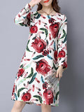 ByChicStyle Feather Printed Round Neck Long Sleeve Shift Dress - Bychicstyle.com