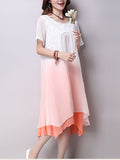 ByChicStyle Casual Embroidery Gradient Asymmetric Hem Shift Dress