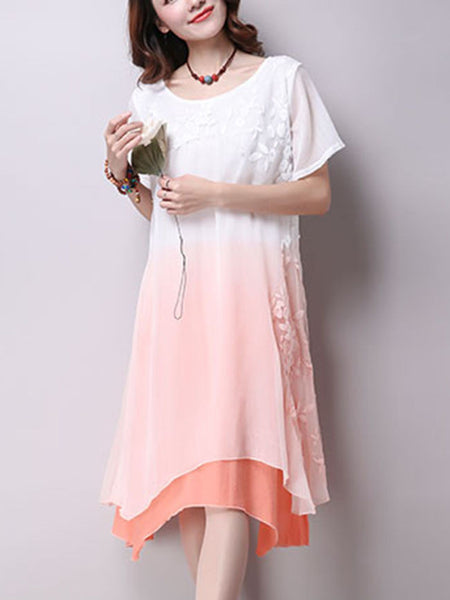 Casual Embroidery Gradient Asymmetric Hem Shift Dress