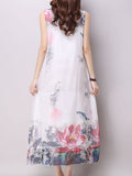 ByChicStyle Round Neck Floral Printed Sleeveless Maxi Dress - Bychicstyle.com