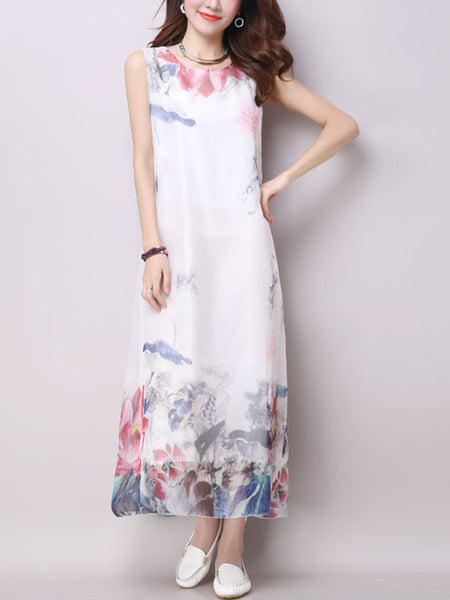 Round Neck Floral Printed Sleeveless Maxi Dress - Bychicstyle.com