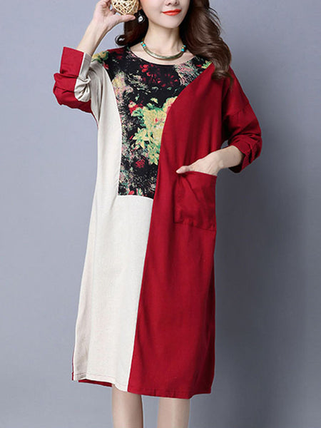 Round Neck Patch Pocket Color Block Printed Maxi Dress - Bychicstyle.com