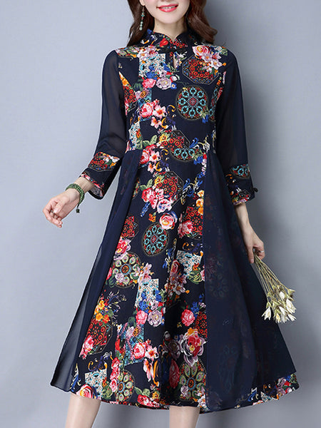 Casual Band Collar Patchwork Floral Printed Maxi Dress